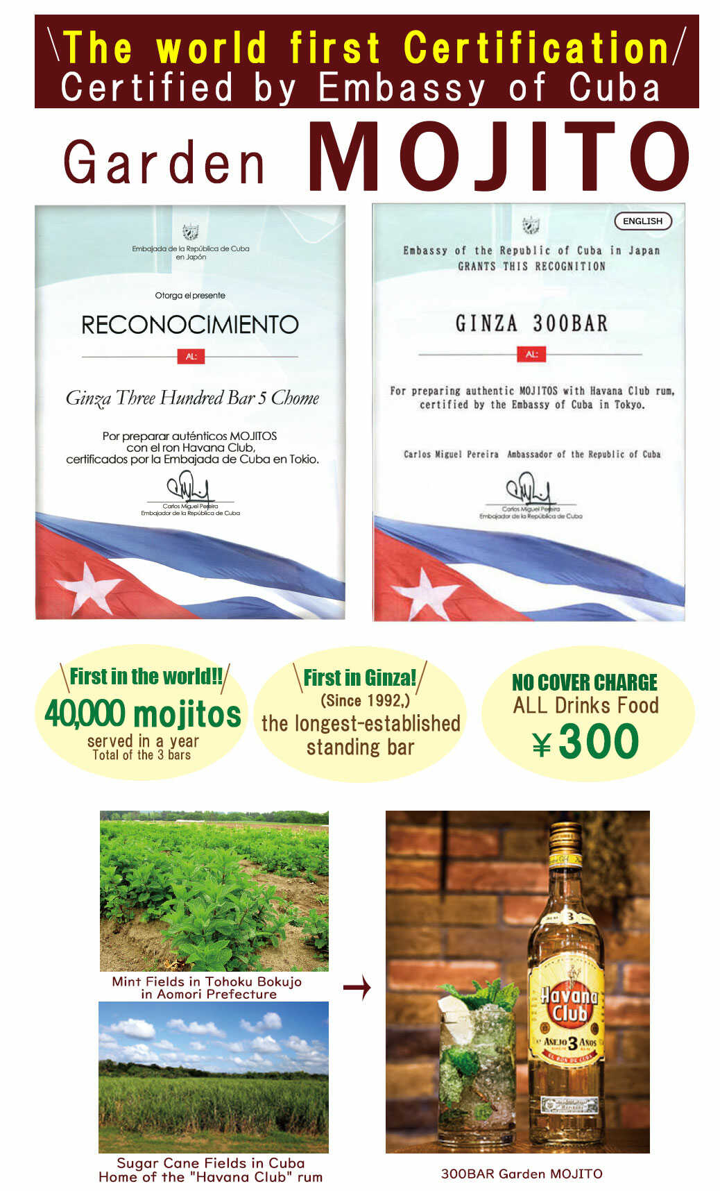 First in the world!Certified by Embassy of Cuba!MOJITO in 300BAR